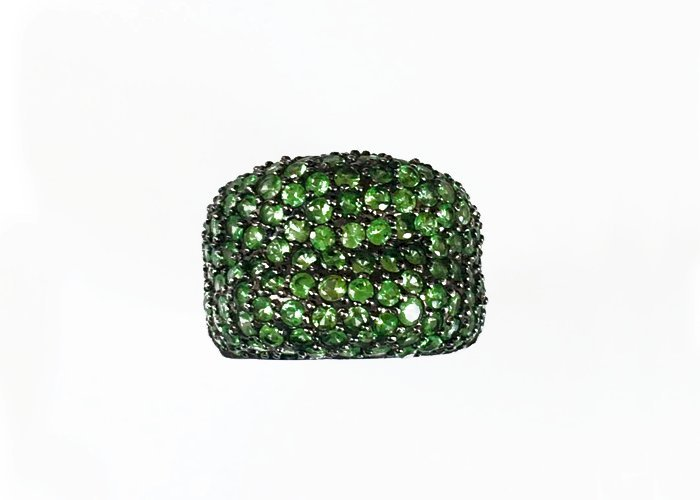 Natural Greene Tavorite Silver Ring
